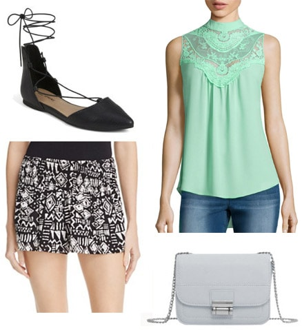 How to wear a mint green blouse with polka dot shorts, flats, and a cross body bag