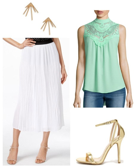 How to wear a mint green blouse with a white skirt, gold heels, and modern earrings
