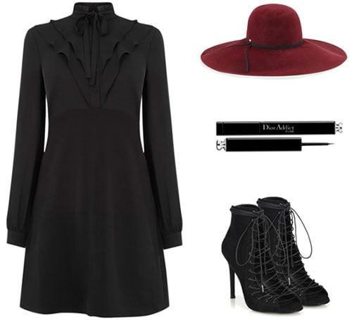 Modern Victorian outfit: High neck dress, oxblood hat, lace-up booties