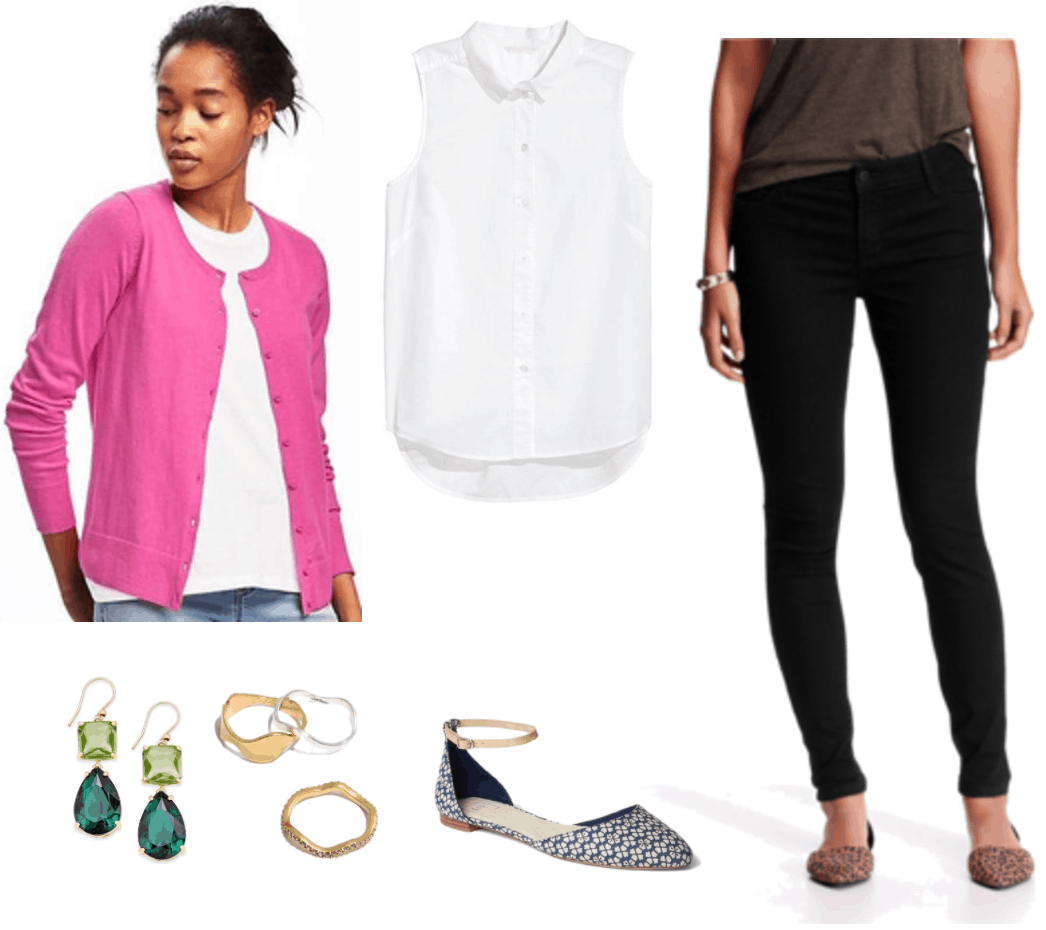 """What Should I Wear For My Video Interview?"" Outfit #1 featuring bright pink cardigan, green drop earrings, wavy stacking rings, white sleeveless blouse, blue and off-white floral-patterned d'orsay flats with beige ankle strap, and black skinny jeans"