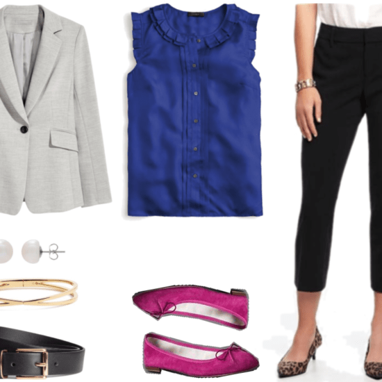"""""""What Should I Wear For My Video Interview?"""" Outfit #2 featuring light gray blazer, sterling silver pearl earrings, gold bangle, black belt with gold hardware, cobalt sleeveless blouse with ruffles and pleats, magenta flats with bows, and black cropped pants"""