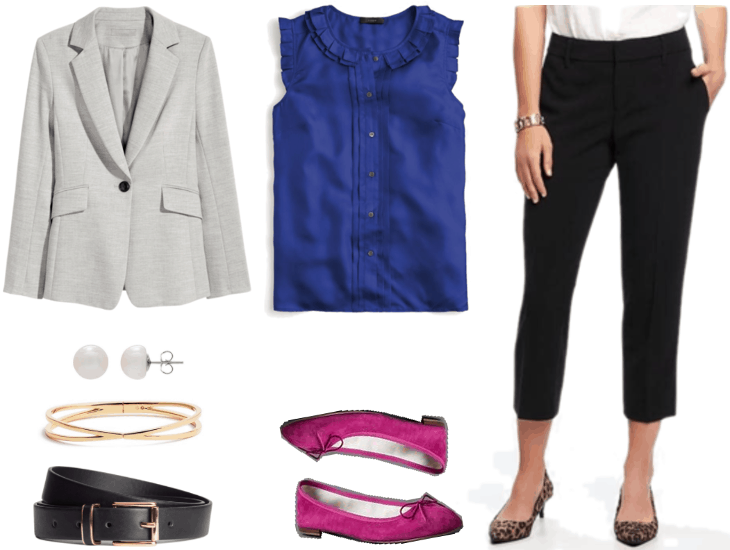 """What Should I Wear For My Video Interview?"" Outfit #2 featuring light gray blazer, sterling silver pearl earrings, gold bangle, black belt with gold hardware, cobalt sleeveless blouse with ruffles and pleats, magenta flats with bows, and black cropped pants"