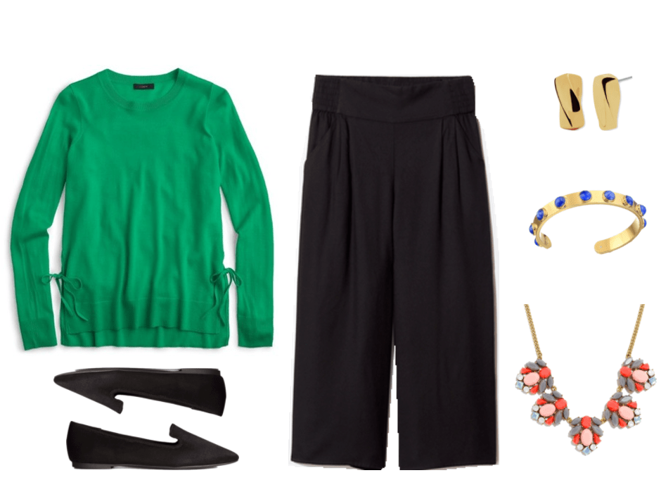 """What Should I Wear For My Video Interview?"" Outfit #3 featuring bright green sweater with side ties, black loafers, black culottes, gold twisted earrings, gold cuff bracelet with blue stones, and gold statement necklace with coral, pink, gray, and pale blue stones"
