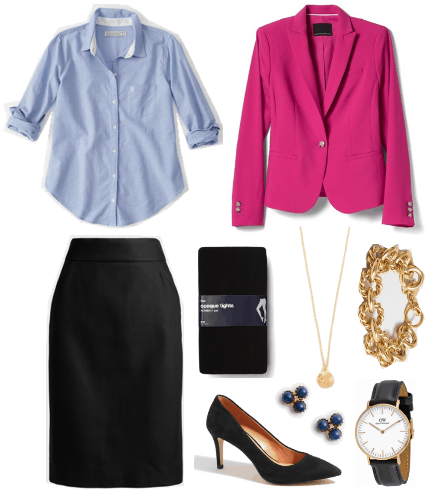 """What Should I Wear For My Video Interview?"" Outfit #4 featuring pale blue oxford shirt, black pencil skirt, bright pink blazer, black tights, pointed-toe black heels, gold circle pendant necklace, gold studs with three blue stones, gold chain-link bracelet, and rose gold watch with black leather band"