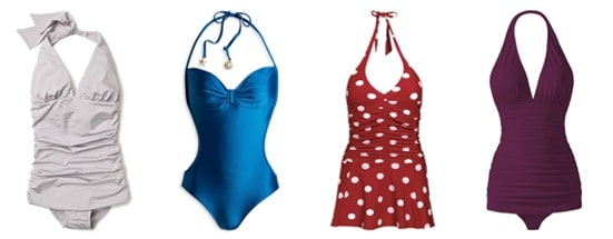 One piece bathing suits with a retro vibe