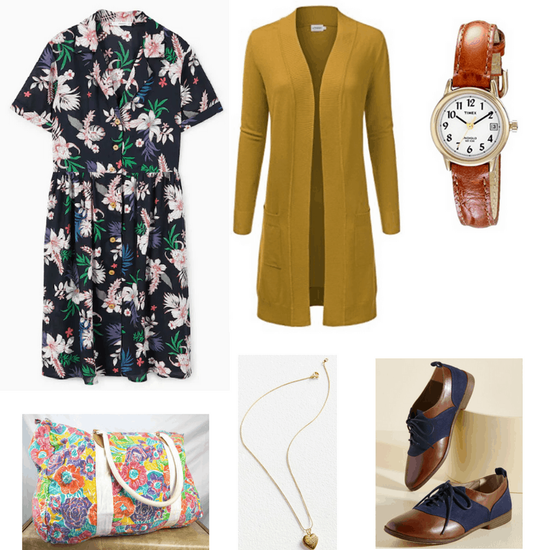 Vintage finals outfit with printed dress, mustard cardigan, oxfords, watch, necklace, and floral bag