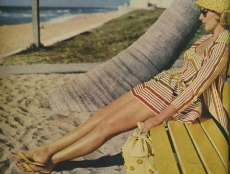 Vintage photo of woman wearing sandals on beach