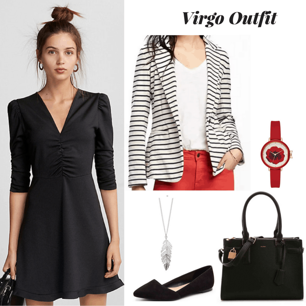 virgo outfit outfit inspired by astrology zodiac fashion little black dress outfit striped blazer outfit red watch outfit silver feather pendant necklace outfit black flats outfit black tote bag outfit