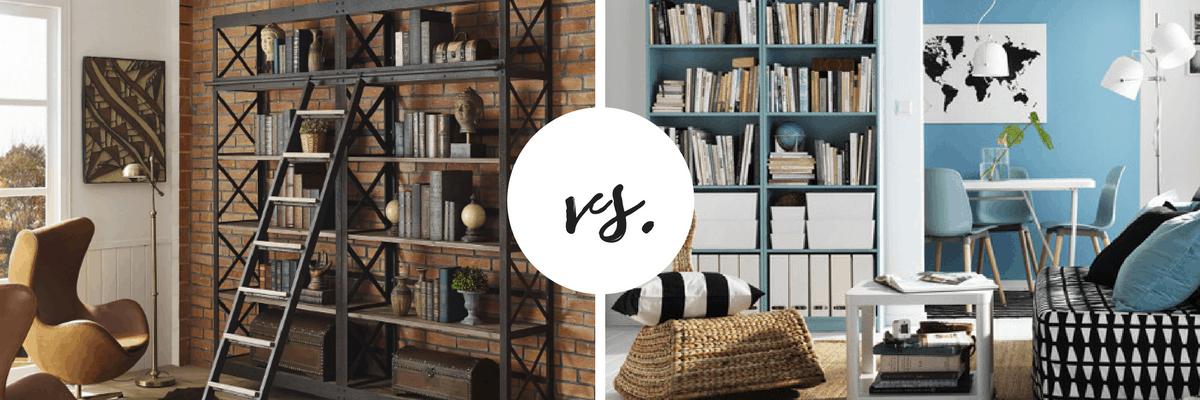 expensive bookcase vs cheap bookcase