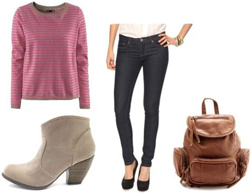 Walking outfit 2: Basic jeans, long sleeve tee, low heeled ankle boots, backpack