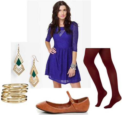 Walking outfit 1: Long sleeve dress, burgundy tights, ballet shoes, earrings, bracelet