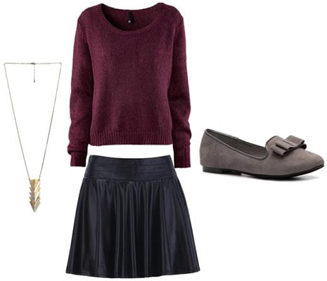 Walking outfit 3: Leather skirt, cozy flats, long sleeve sweater, pendant necklace
