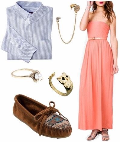 maxi dress, button-up, mocassins
