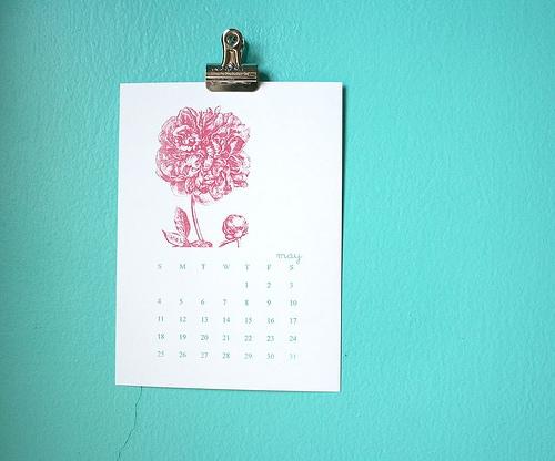 Pink wall calendar