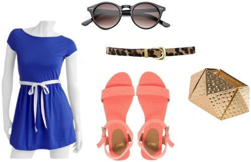 Walmart Blue Dress Outfit 1: Coral sandals, leopard belt, round sunglasses, gold cuff bracelet