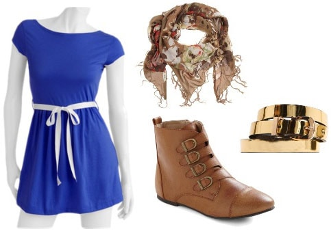 Walmart Blue Dress Outfit 2: Brown ankle boots, printed scarf, gold metallic skinny belt
