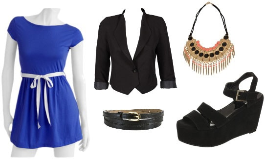 Walmart Blue Dress Outfit 3: Black blazer, black skinny belt, flatform sandals, statement necklace