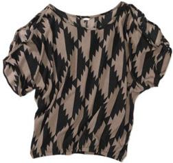 Walmart black and taupe geometric print tee shirt
