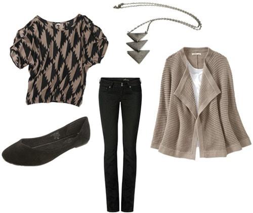 Outfit idea: Walmart geometric print tee, black skinny jeans, beige cardigan, flats