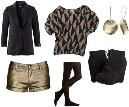 Outfit idea: Walmart geometric print tee, gold metallic shorts, black opaque tights, wedge ankle booties, black blazer