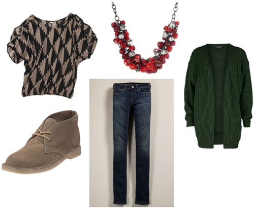 Outfit idea: Walmart geometric print tee, skinny jeans, red necklace, desert boots, green cardigan