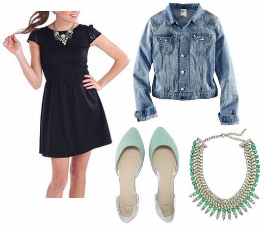 Walmart lbd, denim jacket, statement necklace