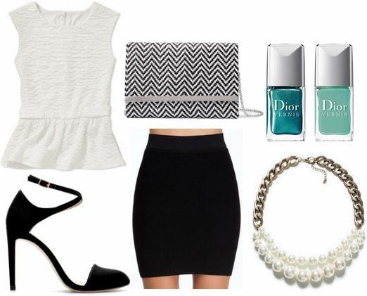Walmart peplum blouse, black skirt, pumps, statement necklace