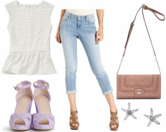Walmart peplum blouse, boyfriend jeans, wedges