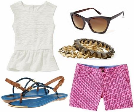 Walmart peplum blouse, printed shorts, sandals