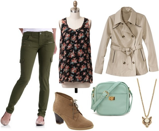 Walmart skinny cargo pants, floral blouse, ankle boots, trench coat