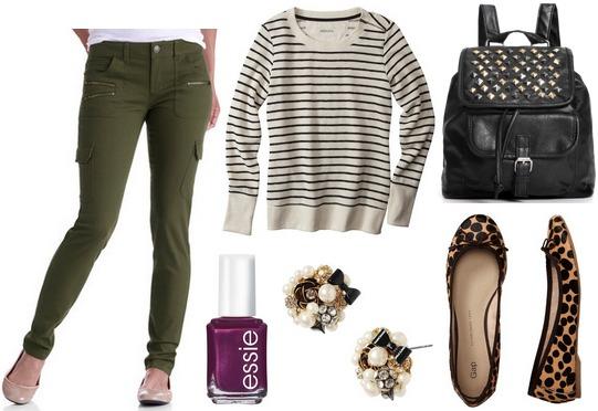 Walmart skinny cargo pants, striped sweater, leopard flats