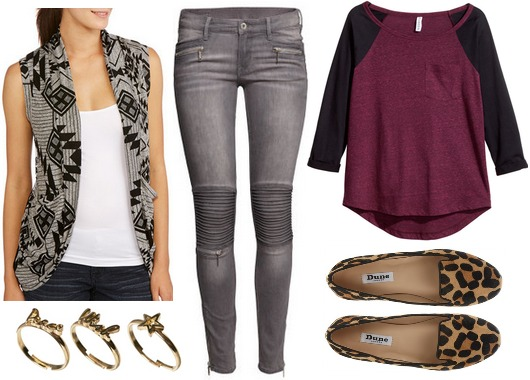 Walmart sleeveless cardigan, baseball tee, skinny jeans, loafers