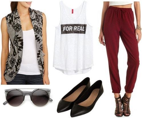 Walmart sleeveless cardigan, joggers, graphic tank, flats