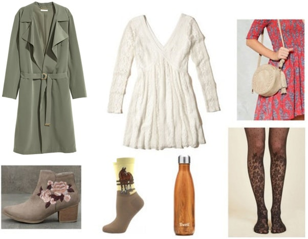 Outfit inspired by literature: War Horse. Includes white lace v neck dress, green trench coat, suede ankle booties with florals, horse socks, printed tights, beige bag