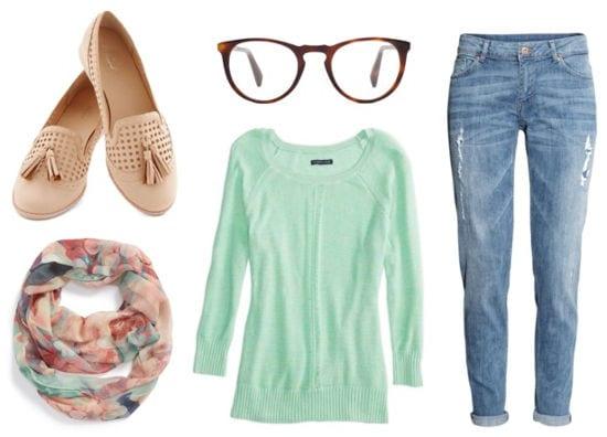 Warby Parker mint sweater boyfriend jeans