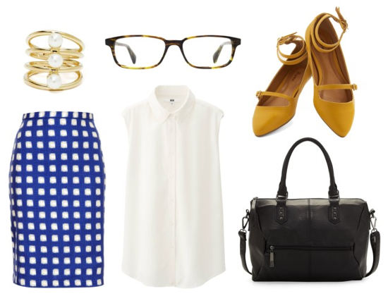 Warby Parker white blouse blue check skirt