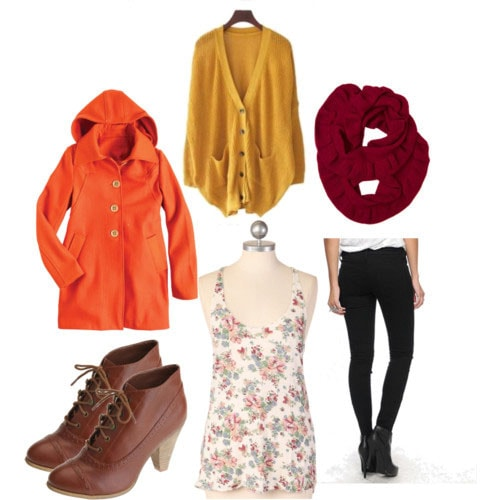 Warm multi-layer outfit for winter - orange coat, skinny jeans, yellow sweater