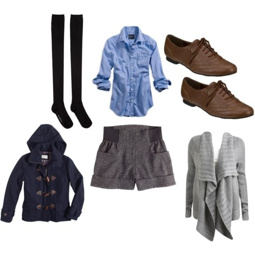 Warm multi-layer outfit for winter - gray shorts, pea coat, and sweater