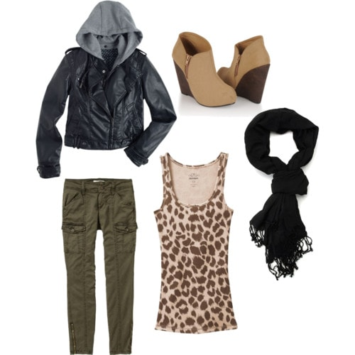 Warm multi-layer outfit for winter - patterned top and green pants