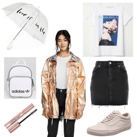 Warm rainy day outfit: Rose gold anorak, Love is in the Air umbrella, Madonna graphic tee, white faux leather mini backpack, black denim mini skirt, pink Vans sneakers, waterproof mascara