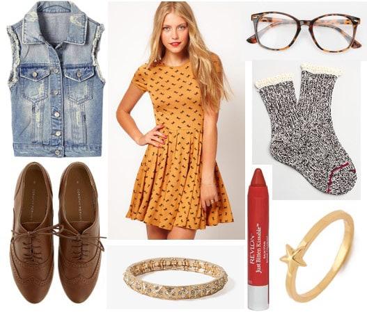 Fall fashion for warm climates - polka dot dress, denim vest, ruffle socks, oxfords