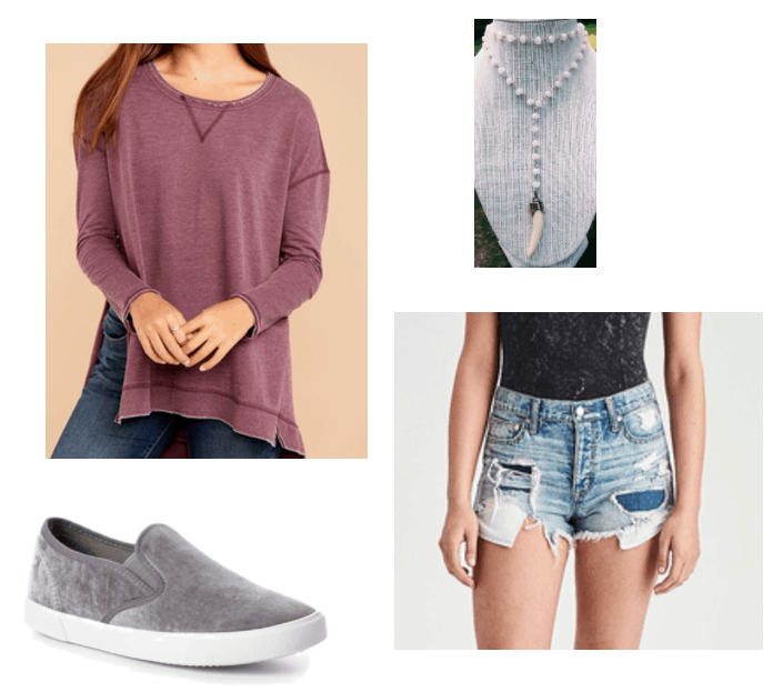 Fall transition outfits: Summer to fall outfit idea with a mauve sweatshirt, denim shorts, suede slip on sneakers, and a horn pendant necklace