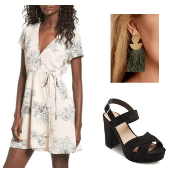Fall trends: Wrap dress and chunky heels. Outfit including a beige wrap dress, black chunky ankle strap heels and green and gold tassel earrings