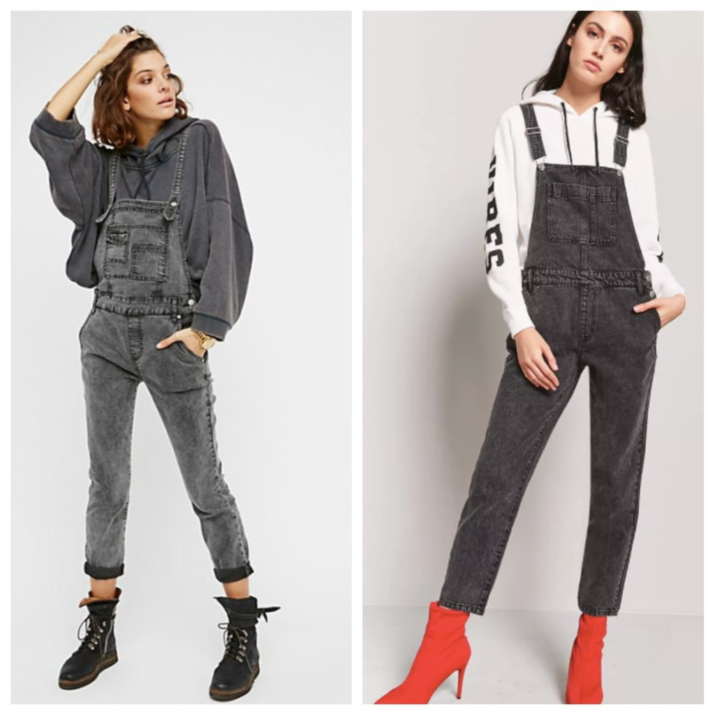 Two models: one wearing Free People overalls and the other wearing Forever 21 overalls. Both have sweatshirts underneath one wearing black boots the other red heels.