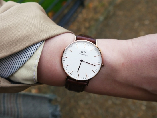 Brown leather watch by Daniel Wellington
