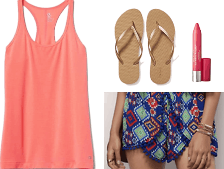 coral tank top printed shorts gold flip flops lip stain water balloons outfit