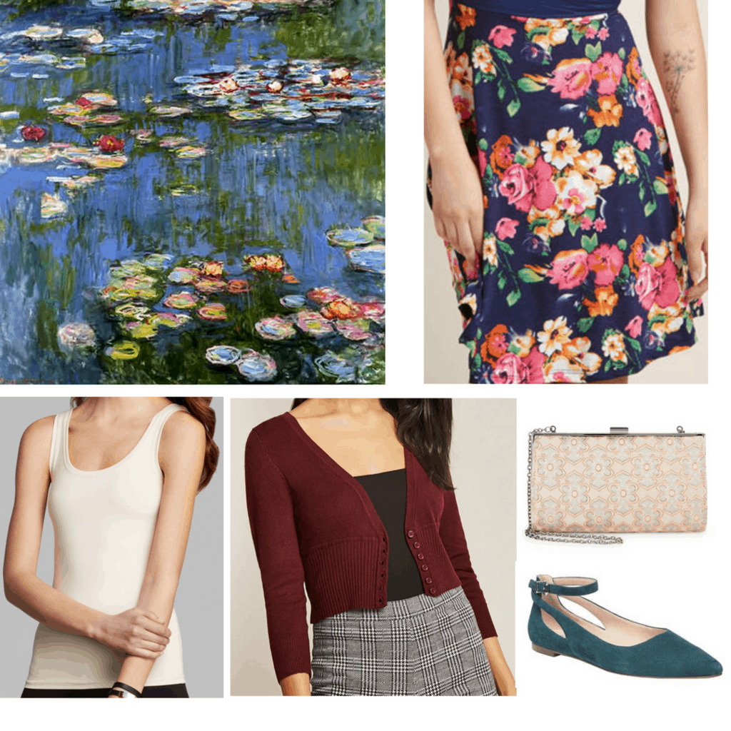 outfits inspired by water lilies outfits inspired by impressionism outfits inspired by monet watercolor floral skirt cream tank top burgundy cropped cardigan clutch bag with floral detailing teal flats