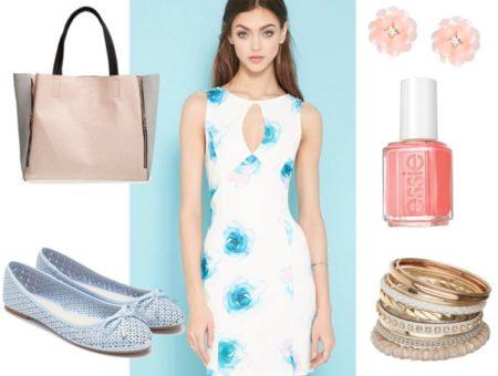 watercolor dress, ballet flats, tote bag