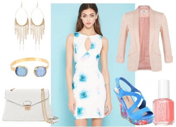 watercolor dress, wedge sandals, blazer