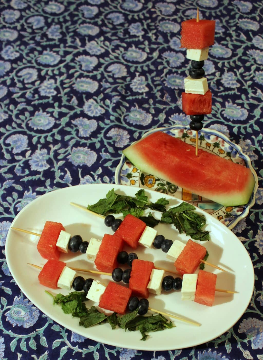 Watermelon, Feta, and Blueberry Skewers